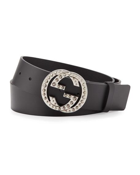 Studded Interlocking-G Leather Belt