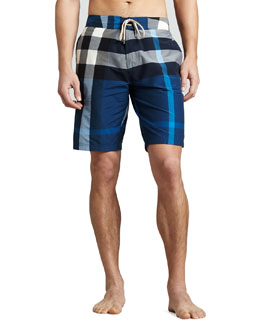 Burberry Brit Check Boardshorts, Petrol Blue