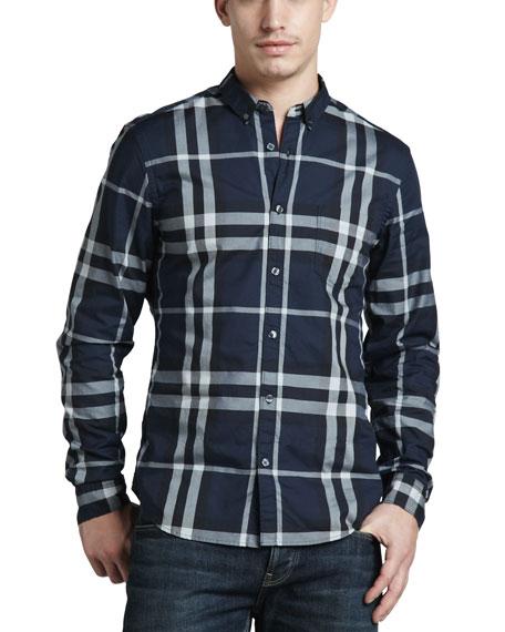 Classic Check Sport Shirt, Navy