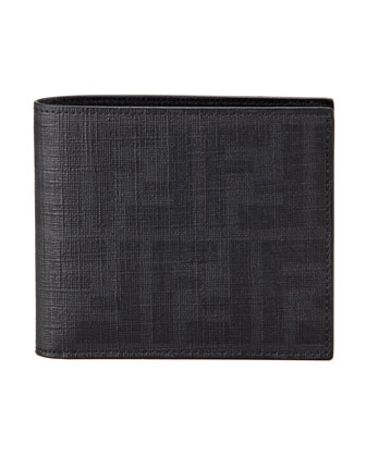 Zucca Coated Canvas Bi-Fold Wallet, Black