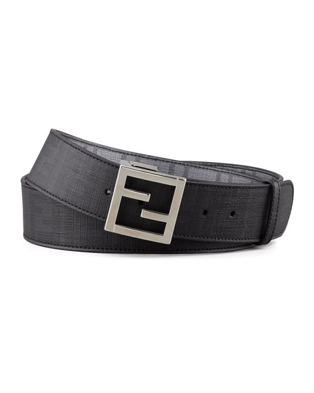 Zucca-Print Reversible Belt, Black/Gray
