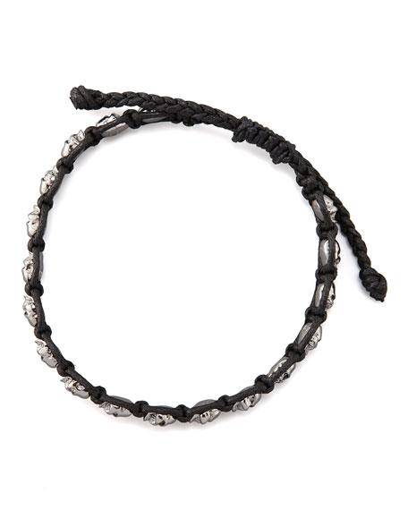 Woven Skull-Bead Bracelet