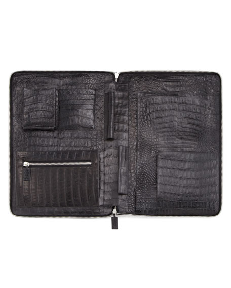 Zip-Around Crocodile Portfolio, Black