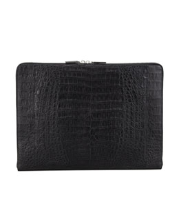 Santiago Gonzalez Zip-Around Crocodile Portfolio, Black