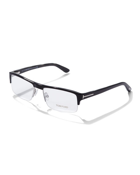 Acetate Half-Frame Fashion Glasses, Black