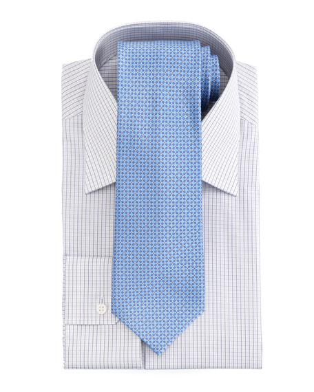 Micro-Check Dress Shirt, Blue/Yellow