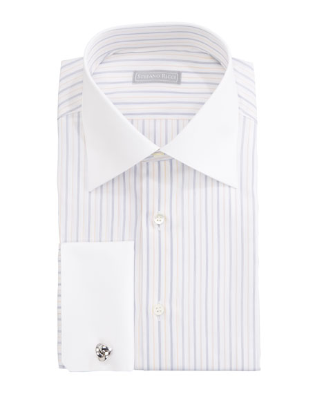 Contrast-Collar Striped Dress Shirt, Blue/Yellow