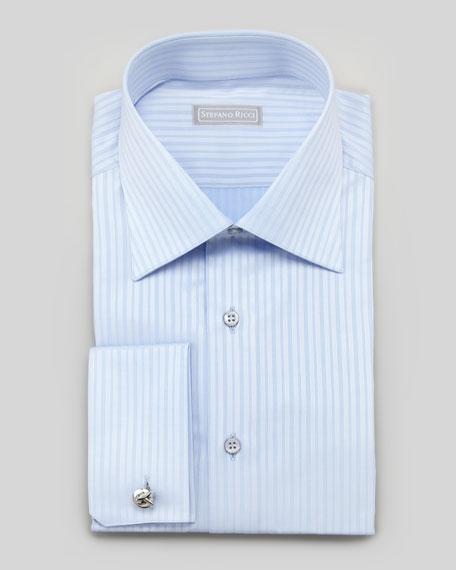 Tonal Striped French-Cuff Dress Shirt, Blue
