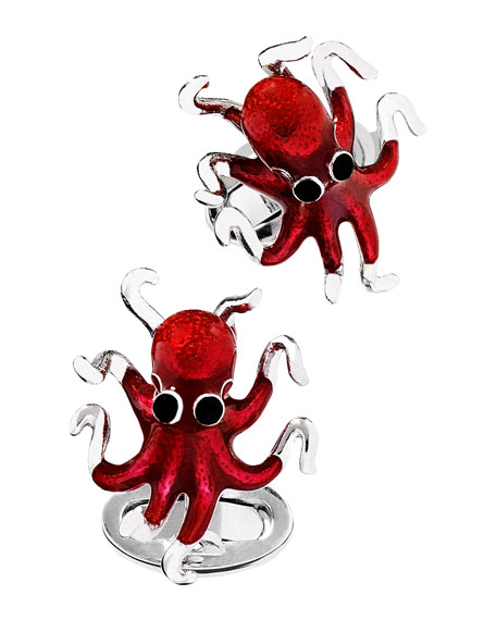 Octopus Cuff Links, Red