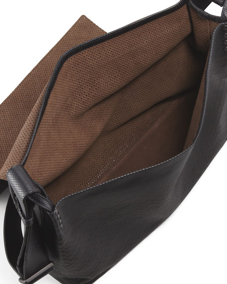 Men's Intrecciato Collage Messenger Bag, Black