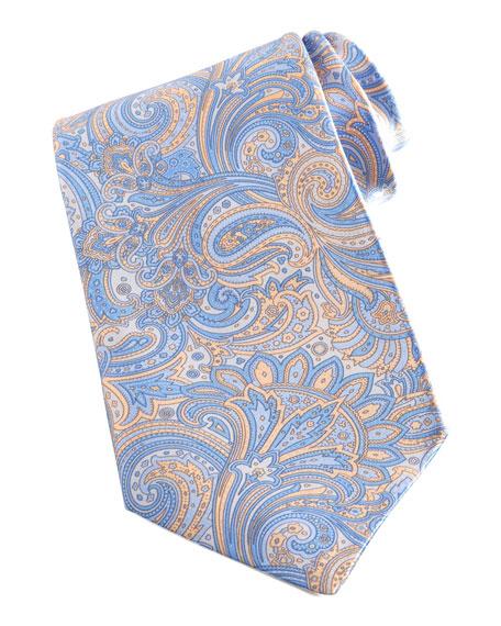 Paisley Silk Tie, Yellow/Blue