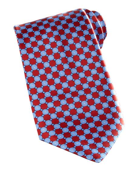 Floral-Grid Silk Tie, Red/Blue