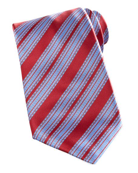 Wide-Stripe Silk Tie, Red/Blue