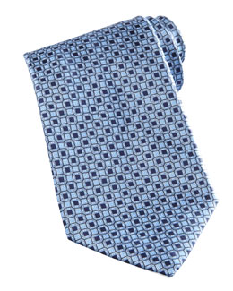 Stefano Ricci Medallion-Pattern Silk Tie, Blue