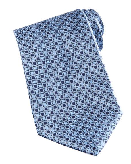 Medallion-Pattern Silk Tie, Blue