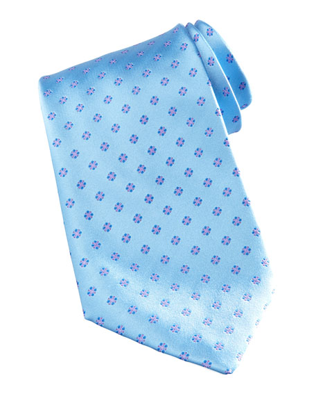 Mini-Flower Silk Tie, Light Blue