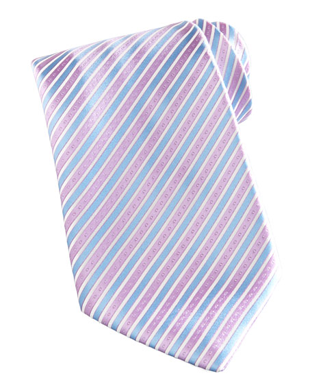 Striped Silk Tie, Blue/Lavender