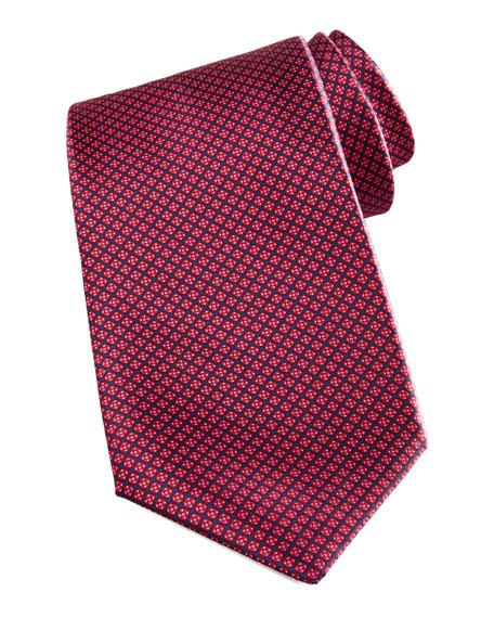 Micro Grid Silk Tie, Red/Navy