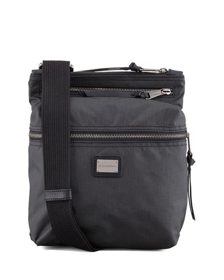 Nylon Zip-Top Messenger Bag, Black