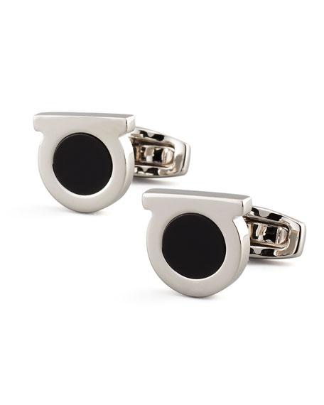 Gancini Black Onyx Cuff Links