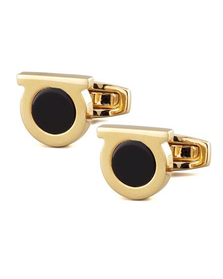 Gancini Black Onyx Cuff Links, Golden