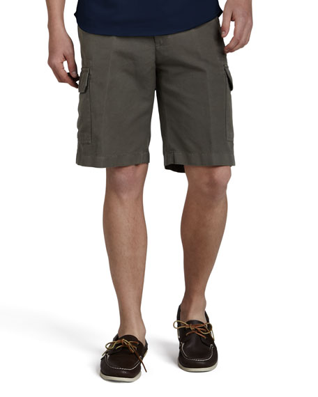 Cotton-Linen Cargo Shorts