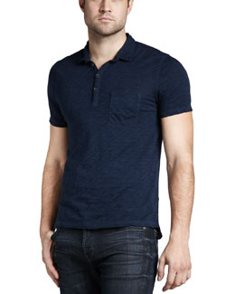 7 For All Mankind Burnout Slub Polo, Coastal Blue