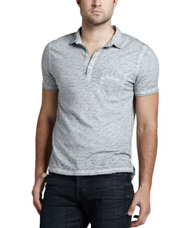 7 For All Mankind Burnout Slub Polo, Cloud