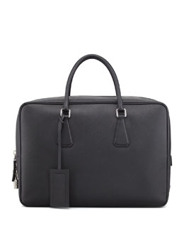Prada Saffiano Zip-Top Briefcase Bag, Black