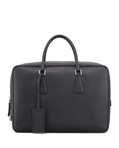 Saffiano Zip-Top Briefcase Bag, Black