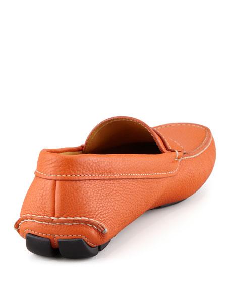 Pebbled Leather Penny Driver, Papaya