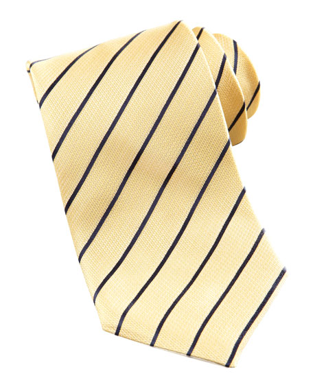 Contrast-Striped Silk Tie, Yellow