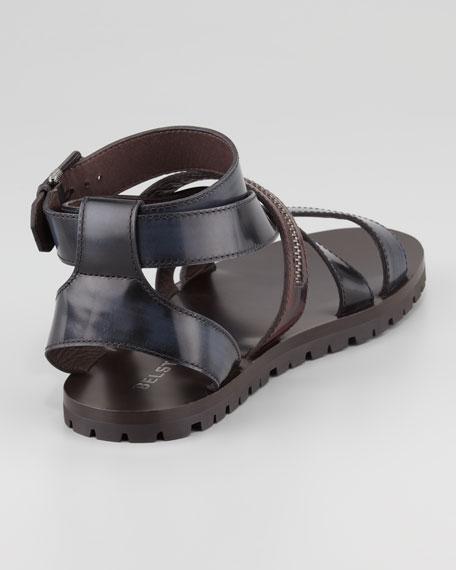 Rumwell Zip-Strap Leather Sandal, Navy/Brown