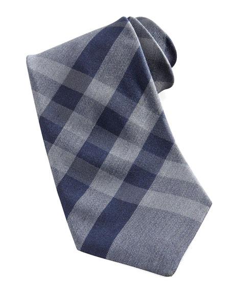 Check Silk Tie, Navy