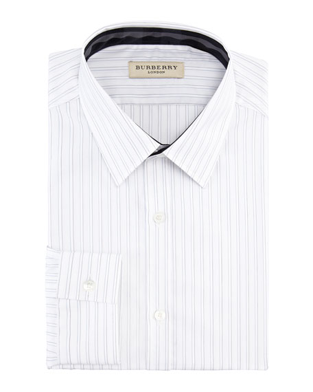 Contrast-Trim Striped Dress Shirt