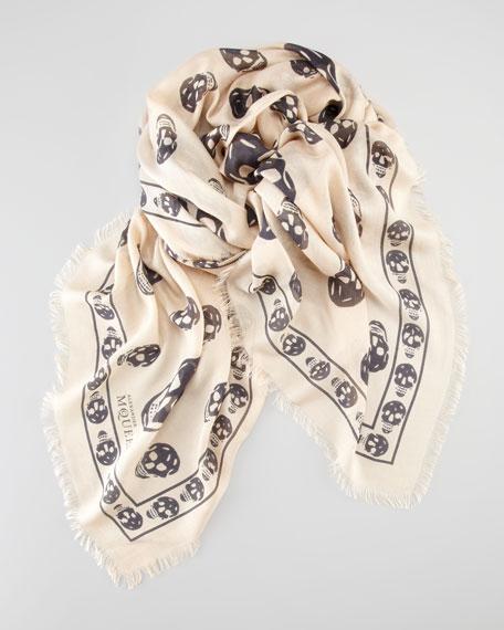 Skull-Print Scarf, White/Black