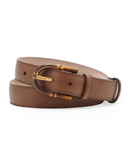 Bamboo-Buckle Grainy Leather Belt
