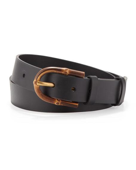 Bamboo-Buckle Leather Belt, Black