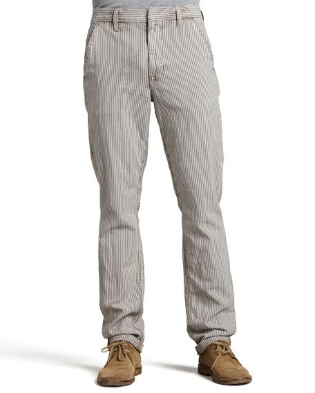 Slim Railroad-Stripe Canvas Pants