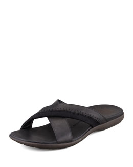 John Varvatos Star USA Tobago Stitched Slide Sandal, Black