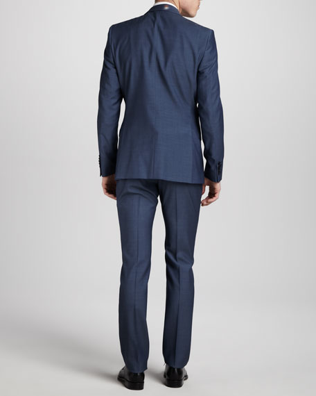 Two-Button Wool Suit, Short, High Blue