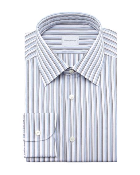 Striped Dress Shirt, Blue/Gray