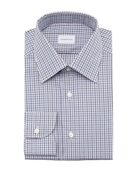 Check Dress Shirt, Blue/Brown