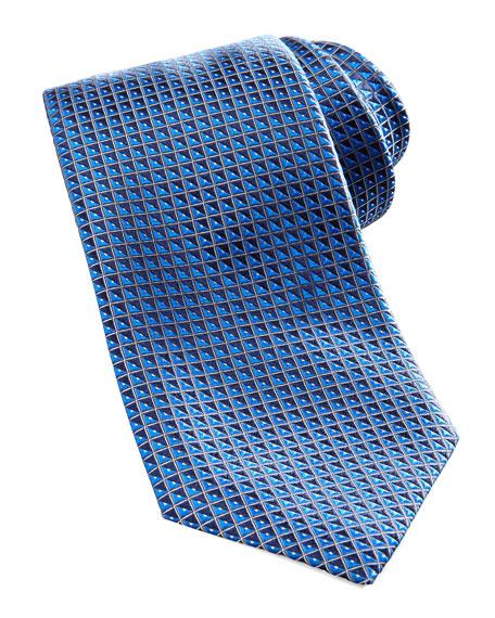 Geometric Silk Tie, Navy