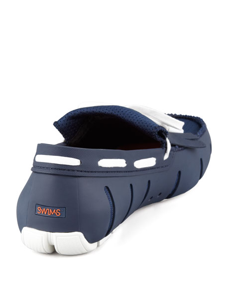 Mesh and Rubber Kiltie Loafer, Navy/White