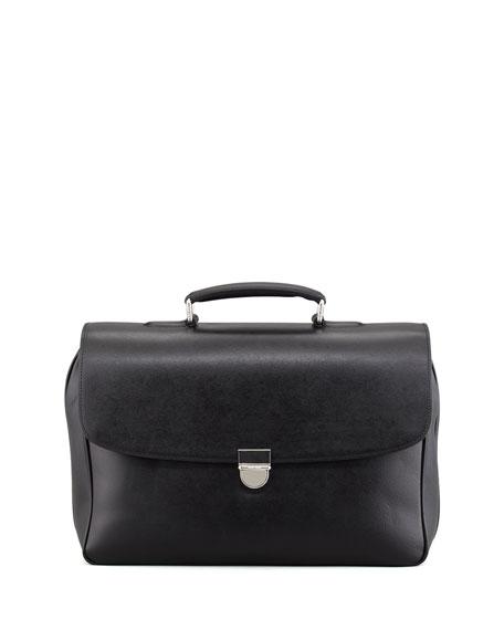 Double-Gusset Saffiano Briefcase