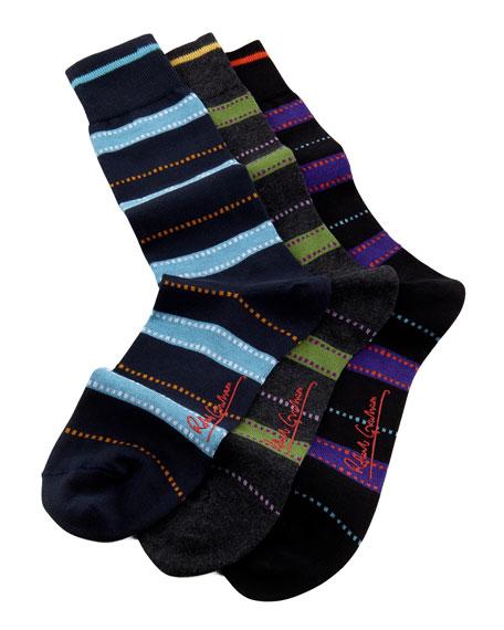 Men's Corinthian Striped Three-Pair Sock Set
