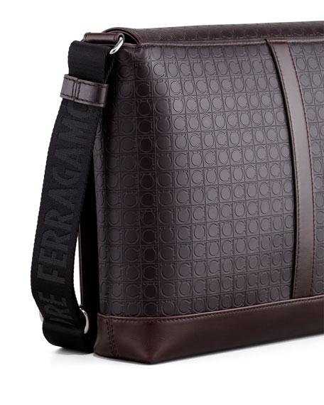 Gamma Gancini-Embossed Men's Messenger Bag, Brown