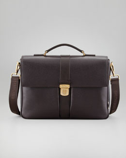 Salvatore Ferragamo Los Angeles Men's Briefcase, Brown