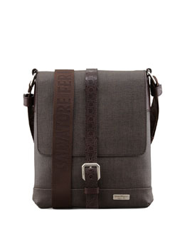 Salvatore Ferragamo New Form Men's Coated Canvas Messenger Bag, Brown